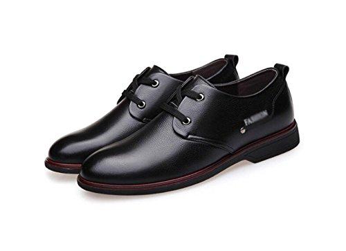 Männer Sport Derby Schuhe Herbst Winter Leder Retro Wear Weiche Runde Schuhe Oxford Schuhe,Black-26.5(cm)=10.43(in)=EU42=UK7.5 (Maultiere Leinwand)