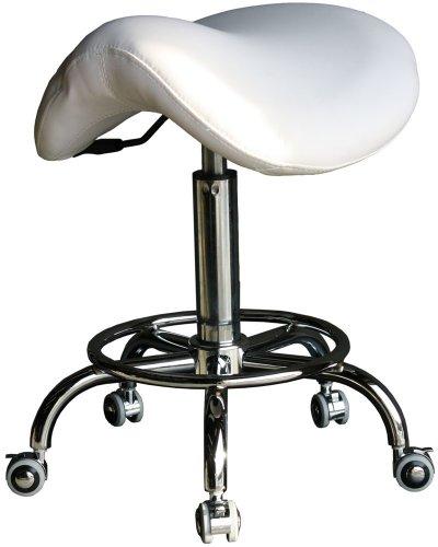 FIGARO Rollhocker Sattelhocker Hocker mit Gasdruckzylinder und Chromfuß Farbe weiß