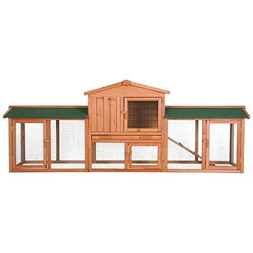 dibea RH10241, XXXL Kaninchenstall 223 x 52 x 85 cm (B x T x H, braun), Premium Kleintierstall für Hasen, Meerschweinchen oder Zwergkaninchen, wetterfestes Dach - 3