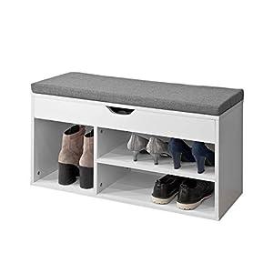 SoBuy FSR45-HG Schuhbank mit Sitzkissen Sitzbank Schuhschrank Schuhregal 3 Fächer weiß BHT ca: 80x46x30cm