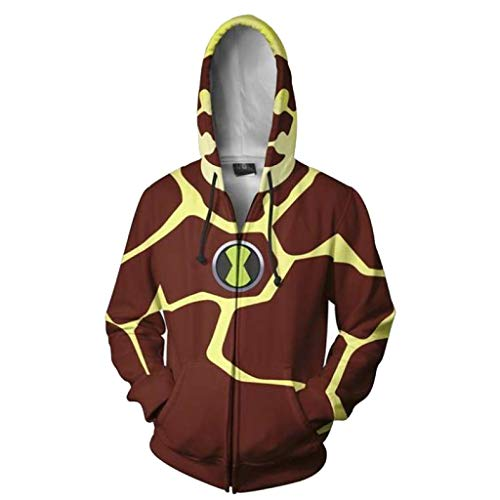 SDKHIN Unisex Anime Cosplay Männer Frauen 3D Pullover Drucken Ben 10 Alien Force Hoodie Sweatshirt Sportlich Casual Landless Zipper,Brown-XL