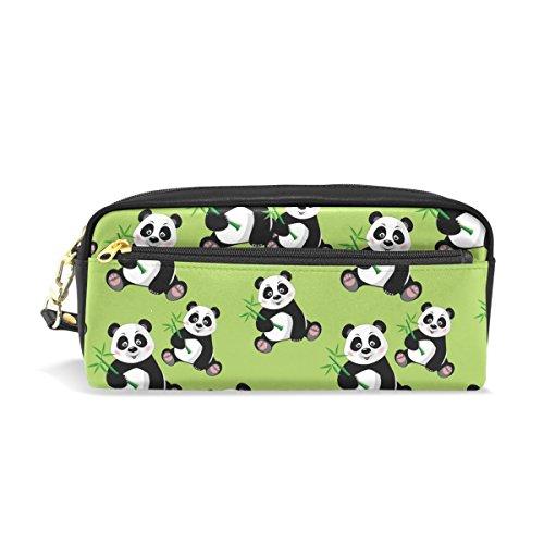 bennigiry sitzend Cute Panda Bambus Zip rechteckig groß Stoff Federmäppchen, Schule Make-up (Bambus-zip)
