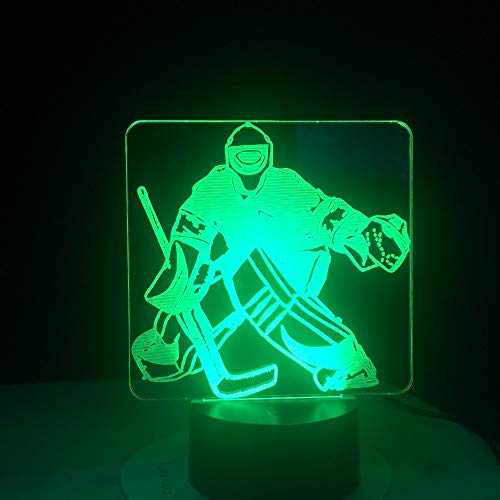wangZJ 3D Night Light/Lampada Led/Baby Nursery Nightlight/Regali di compleanno di Natale con / 7 Cambio colore Hockey su ghiaccio Portiere