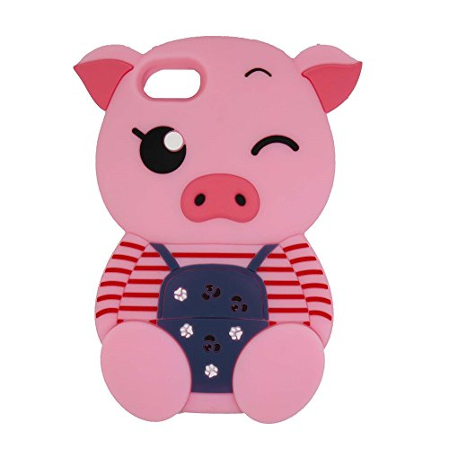 Samsung Galaxy S7Edge Fall, maoerdo Cute Pink Streifen 3D Cartoon Schwein Silikon Gummi Schutzhülle für Samsung Galaxy S7Edge (Handy-fälle-hello Kitty)