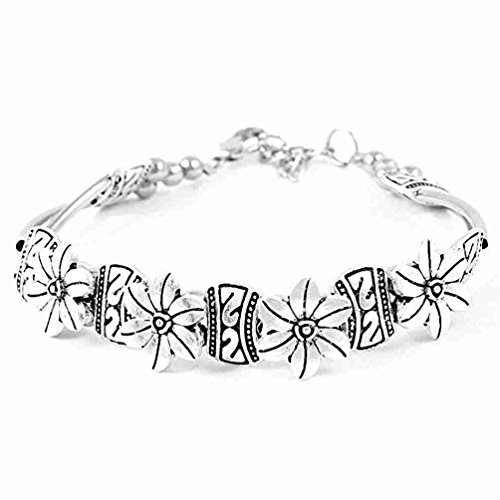 Move&Moving(TM) Silver Tone Metal Flowers Connected Bracelet Wrist Ornament for Ladies