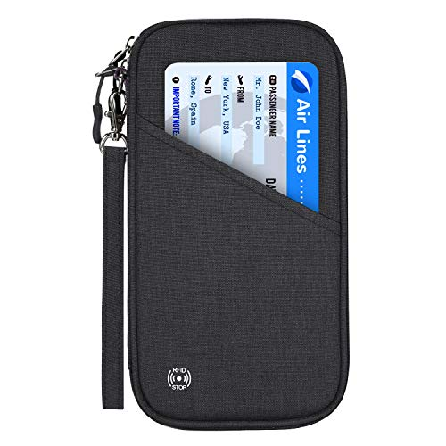 Reisepass Tasche Reisepasshülle RFID-Blocker Schutzhülle | Familien Reise Brieftasche Pass Hülle Passport Etui Ausweistasche Dokumente Organizer für Damen/Herren 25 x 14 cm (Schwarz) -