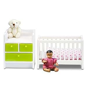 lundby lit b b et table langer mini poup es avec accessoire jeux et. Black Bedroom Furniture Sets. Home Design Ideas