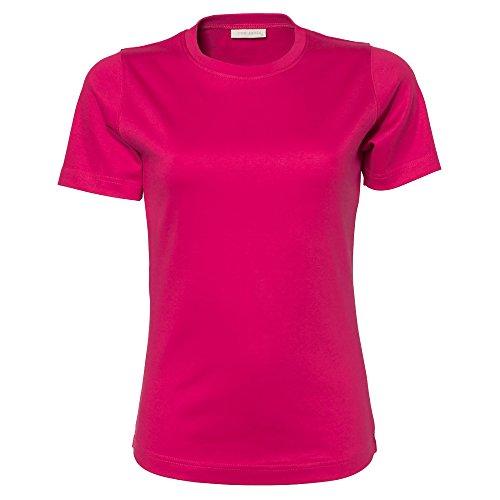 Tee Jays Damen Interlock T-Shirt, Rundhalsausschnitt, Kurzarm Hot Pink