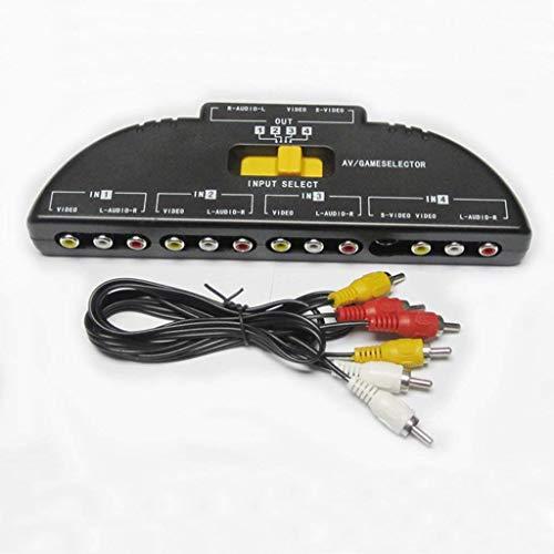 Goodplan 1 Stück Audio-Video-Switcher 4-Wege-Anschluss RCA Audio- und Video-Composite-Verteiler für Wii, Xbox, DVD, PS2, Kabelbox