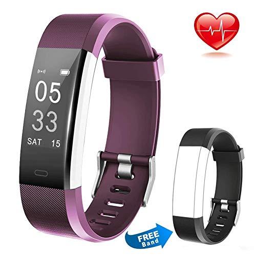 Tong Smart Armband mit Herzfrequenz und Fitness-Armband Kalorienzähler für IOS und Android (Farbe : Lila)
