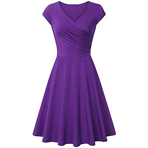Damen Winterkleid MYMYG Mode Frauen eine Linie Kleid mit V-Ausschnitt Kurzarm-Abend-Party-Kleid Kleider elegant mit Langarm(Lila,EU:36/CN-M)