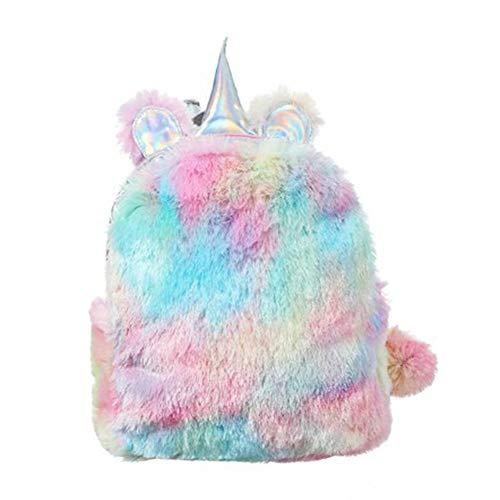 Moolila Fluffy Mini Cute Plüsch Einhorn Rucksack für Mädchen Frauen Reisen Shopping Blue Colour 28CM*24CM*9CM