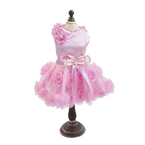 (PETCUTE Luxus Welpen Hund Rock Dame Dog Rose Kleid Kleine Haustier Lovely Prinzessin Bogen Bekleidung für Frühling Sommer Rosa)