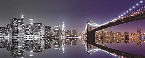 Artland Qualitätsbilder I Glasbilder Deko Glas Bilder 125 x 50 cm Städte Amerika NewYork Foto Schwarz Weiß D1GN Skyline nächtliche Reflektion