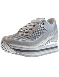 Apepazza Scarpe Donna Sneakers Basse con Zeppa Interna RSD27 GLITTERNET  Robin Argento a088f582e8d