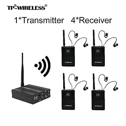 TP-WIRELESS 2.4GHz Professionelles digitales In-Ear Monitoring-System für Bühnen (1 Sender 4 Empfänger)