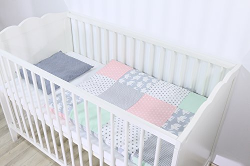 Conjunto de ropa de cuna de ULLENBOOM ® con elefantes menta rosa...