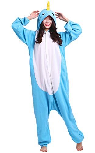 Kostüm Narwal - Jumpsuit Onesie Tier Karton Fasching Halloween Kostüm Lounge Sleepsuit Cosplay Overall Pyjama Schlafanzug Erwachsene Unisex Blau Narwal for Höhe 140-187CM
