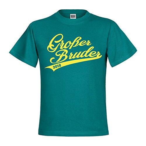 Brüder-kleidung (Großer Bruder Handwriting 2018 Jungen Kids Kinder T-Shirt Textil divablue / Motiv zitronengelb Gr. 12 - 14 Jahre)