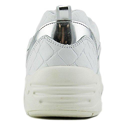Puma R698 EXOTIC Cuir Baskets White-Silver Metallic