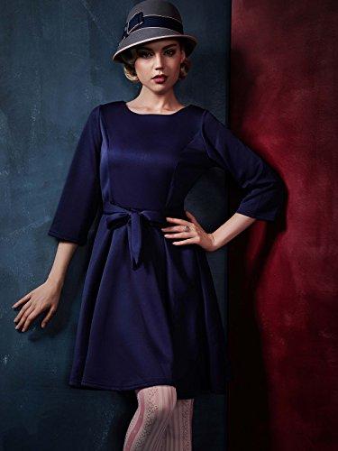 Clocolor Damen Glamour Kleider ALinie DreiViertel Ärmel KnieLänge Retro  Rundhals Tutu Kleid ins Büro Party Blau