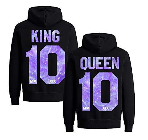 Sternenhimmel King Queen Pullover für Zwei Kapuzenpullover für Paare Paar Valentinstag Partner Geschenke Partnerlook Liebespaar Couple Tops ()