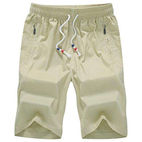 Honeystore Herren Shorts Casual Bermuda Baumwolle Sommer Sport Hose in 12 Farben Elfenbein L (Brooks Damen Caprihosen)