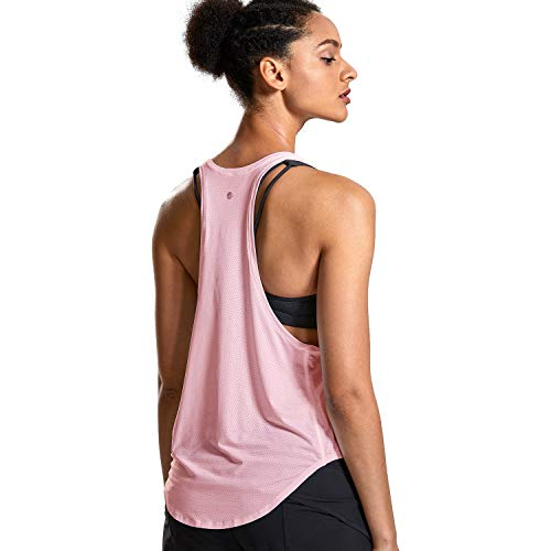 CRZ YOGA Deportiva para Mujer sin Mangas de Malla Yoga Camiseta de Tirantes Rosa Claro XS(36)