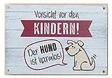 G.H. Vintage Retro Blechschild, Motto Haustiere, Modell: ' Vorsicht VOR DEN...
