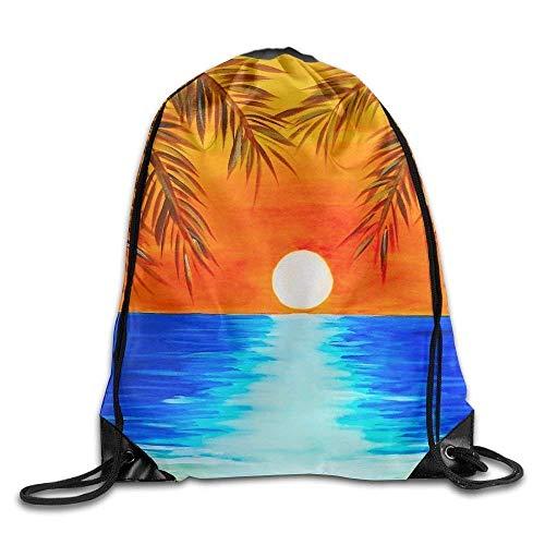 Sporttaschen Turnbeutel Palm Tree Beach Holiday Sun Print Drawstring Backpack Rucksack Shoulder Bags Gym Bag Sport Bag Fashion (Tree Dollar Rucksäcke)
