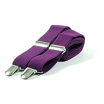 Plain Coloured Trouser Braces Suspenders - Black, White, Red (Purple)