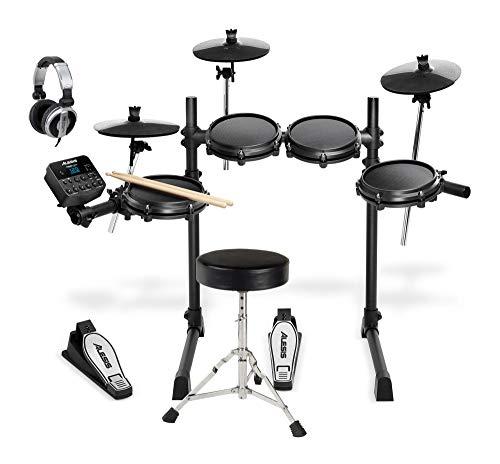 t Set (Siebenteiliges E-Drum Kit mit Mesh Heads & Drum Modul im Set inkl. Drumhocker & DJ-Kopfhörer) Schwarz ()
