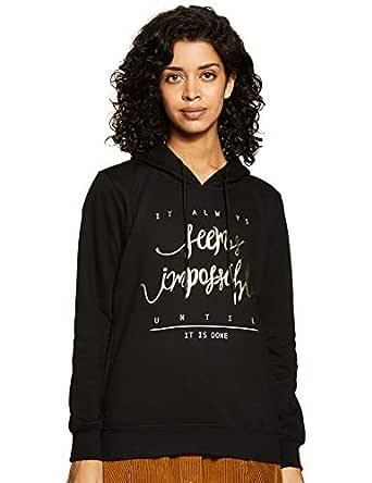 Cazibe Women's Fleece Sweatshirt (302BOU_Black_Medium)