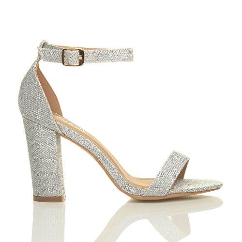 Damen Hochblockabsatz Riemchen Peep Toe Schuhe Knöchelriemen-Sandalen Größe Silber Glitzerstaub