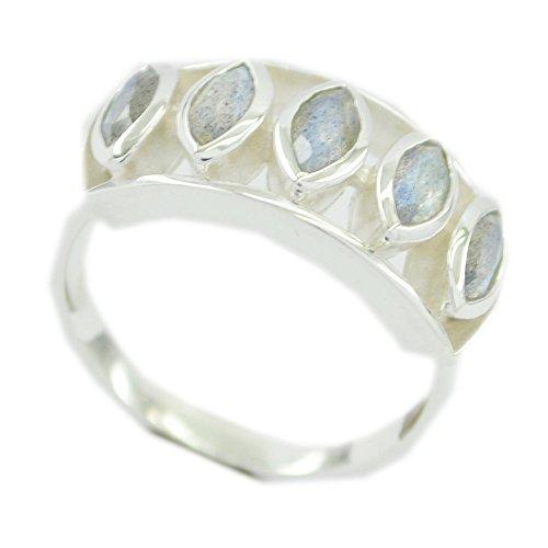 Jewelryonclick Original Regenbogen Mondstein 925 Silber Ring für Frauen Cluster Style Schmuck Geschenk Größen 46 (14.6)