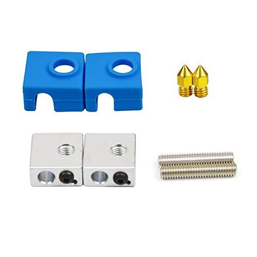 HAWKUNG 8 Pezzi Stampante 3D Estrusore Accessori, 2 Ottone M6 Ugello + 2 Ugello Gola + 2 Blocco Termico in Alluminio + 2 Calzino Silicone per MK8 Stampante 3D, Blu