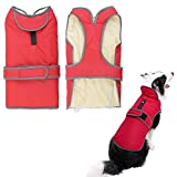 Kismaple Reflective Dog Coat Warm Fleece Lining Cozy Dog Jacket for Winter Cold Weather Outdoor Waterproof Dog Apparel Clothes for Large Dogs (XL Chest: 30.7