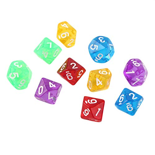 Preisvergleich Produktbild Juegos 10pcs / Set Multi Sides Dice D10 Juego de dados Juego de 5 Colores Nueva venta Mundial - Transparente