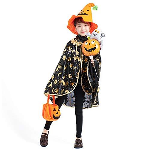 NZQWSJFS Kinder und Mädchen Maske Halloween Requisiten Cosplay Mantel Kindergarten Leistung Festival Dekoration Leistung Kostüm Goldener Kürbis Mantel - (4-8 Jahre alt) (Color : A*2) (Kürbis Kostüm 2 Jahre Alt)