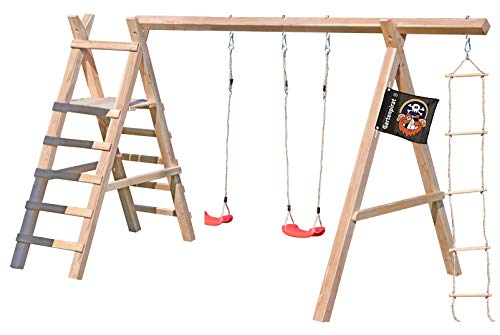 Gartenpirat Schaukelgestell Holz Lärche Typ 5.2 mit Strickleiter und Podest für Rutsche