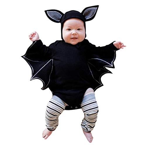 LeeY Neugeborenes Baby Mädchen Bekleidungsset Halloween Langarm Overall Jumpsuit Fledermaus Kostüm Halloween Babykostüm Halloweenkostüm Kinder Romper mit Karikatur Ohr Hut (Schwarz, 70) -