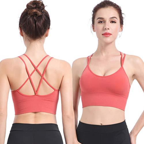 TENDYCOCO Sport-BH für Frauen Komfort Gepolstert Nahtlose High Impact Unterstützung für Yoga-Fitnessstudio Workout Fitness - Korallenrot M - 2
