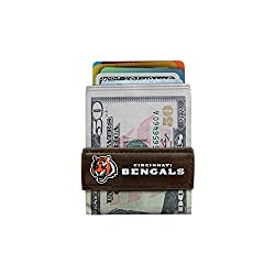 NFL Cincinnati Bengals Classic Football Money Clip Wallet, One Size, Brown
