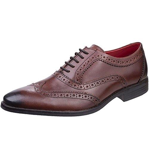 Base London Mens Bramble Smart Burnished Leather Brogue Pattern Shoes