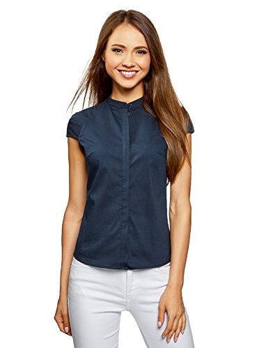 Oodji ultra donna camicia in cotone con maniche corte, blu, it 38/eu 34/xxs