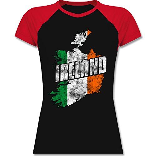 Shirtracer Länder - Ireland Umriss Vintage - Zweifarbiges Baseballshirt/Raglan T-Shirt für Damen Schwarz/Rot