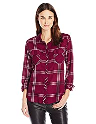 GUESS Womens Long Sleeve Dylan Autumn Plaid Shirt, Autumn Plaid Zinfandel, XL