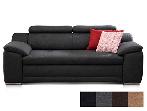 CAVADORE 3-Sitzer Sofa Aniamo mit Verstellbaren Kopfteilen/Modernes Design/Größe: 200 x 80 x 95 cm...