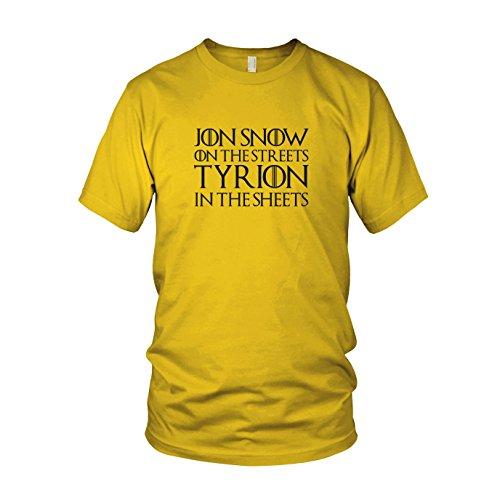 (GoT: Jon Snow on the Streets. Tyrion in the Sheets - Herren T-Shirt, Größe: XXL, Farbe: gelb)