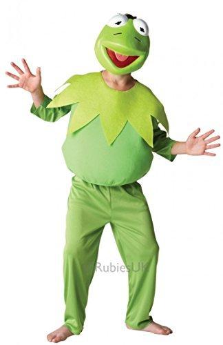 Kind Kostüm Frosch Deluxe - Fancy Me Jungen Mädchen Offiziell Disney Deluxe Die Muppets 1960s Jahre 1970s Jahre Cartoon Film Halloween Buch Tag Woche Kostüm Kleid Outfit - Kermit der Frosch, 7-8 Years